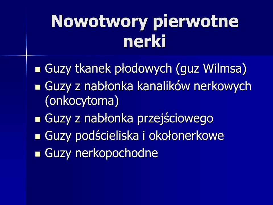 Nowotwory pierwotne nerki Guzy tkanek płodowych (guz Wilmsa) Guzy tkanek płodowych (guz Wilmsa) Guzy z nabłonka kanalików nerkowych (onkocytoma) Guzy z nabłonka kanalików nerkowych (onkocytoma) Guzy z nabłonka przejściowego Guzy z nabłonka przejściowego Guzy podścieliska i okołonerkowe Guzy podścieliska i okołonerkowe Guzy nerkopochodne Guzy nerkopochodne