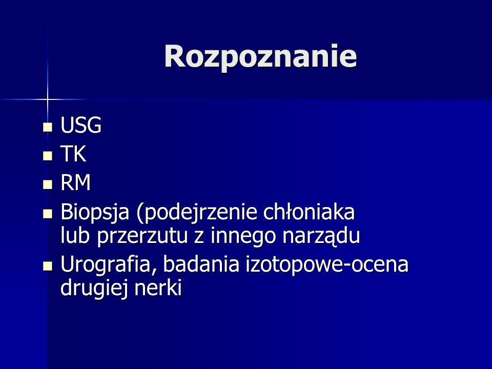Rozpoznanie USG USG TK TK RM RM Biopsja (podejrzenie chłoniaka lub przerzutu z innego narządu Biopsja (podejrzenie chłoniaka lub przerzutu z innego narządu Urografia, badania izotopowe-ocena drugiej nerki Urografia, badania izotopowe-ocena drugiej nerki