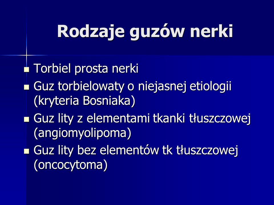 Rodzaje guzów nerki Torbiel prosta nerki Torbiel prosta nerki Guz torbielowaty o niejasnej etiologii (kryteria Bosniaka) Guz torbielowaty o niejasnej etiologii (kryteria Bosniaka) Guz lity z elementami tkanki tłuszczowej (angiomyolipoma) Guz lity z elementami tkanki tłuszczowej (angiomyolipoma) Guz lity bez elementów tk tłuszczowej (oncocytoma) Guz lity bez elementów tk tłuszczowej (oncocytoma)