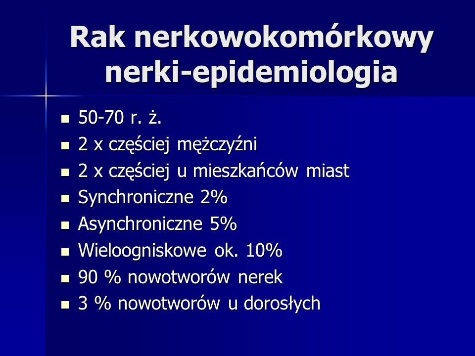 Leczenie systemowe Immunoterapia Immunoterapia –Interferon alfa –Interleukina 2 –Interleukina 2 + autolimfocyty Chemioterapia Chemioterapia –Schemat Hanoverski (interleukina 2, interferon alfa i 5-FU) – 40 % odpowiedzi