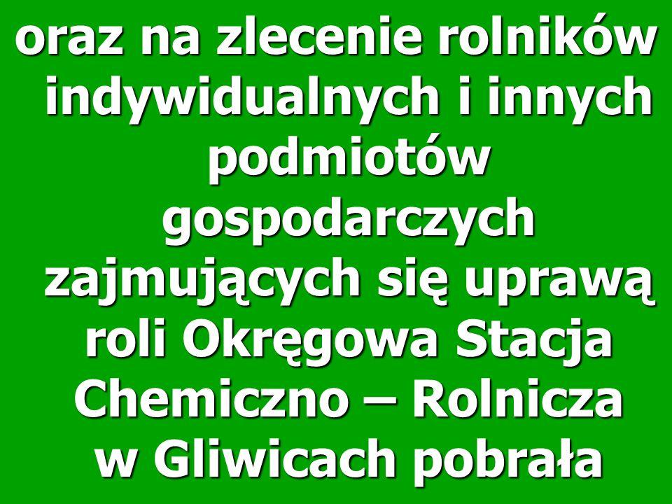 oraz na zlecenie rolników indywidualnych i innych podmiotów gospodarczych zajmujących się uprawą roli Okręgowa Stacja Chemiczno – Rolnicza w Gliwicach