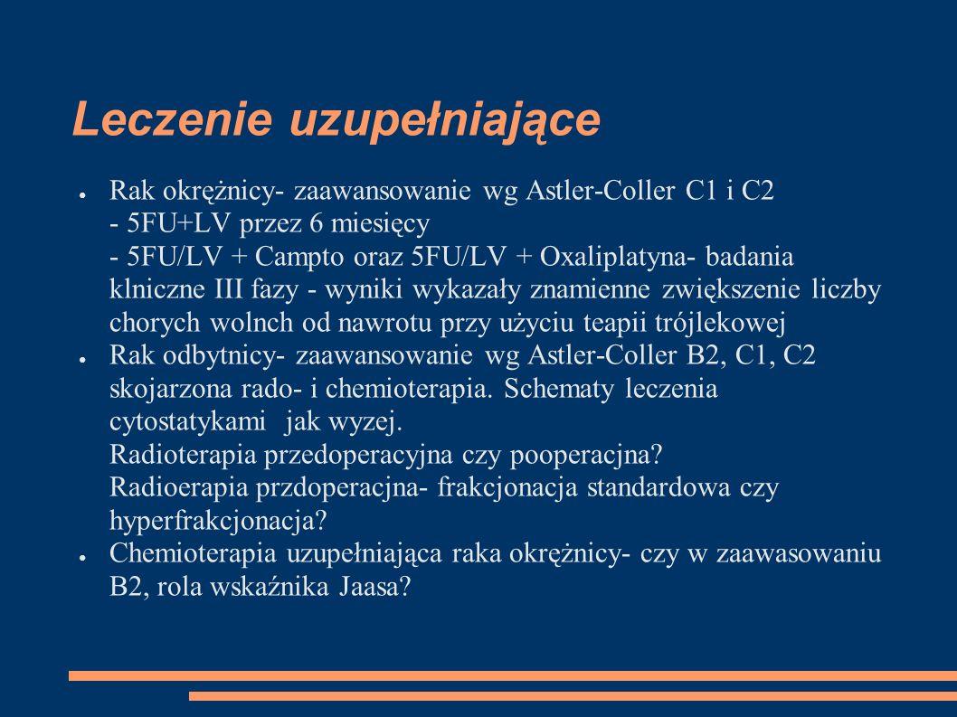 Leczenie uzupełniające Rak okrężnicy- zaawansowanie wg Astler-Coller C1 i C2 - 5FU+LV przez 6 miesięcy - 5FU/LV + Campto oraz 5FU/LV + Oxaliplatyna- b