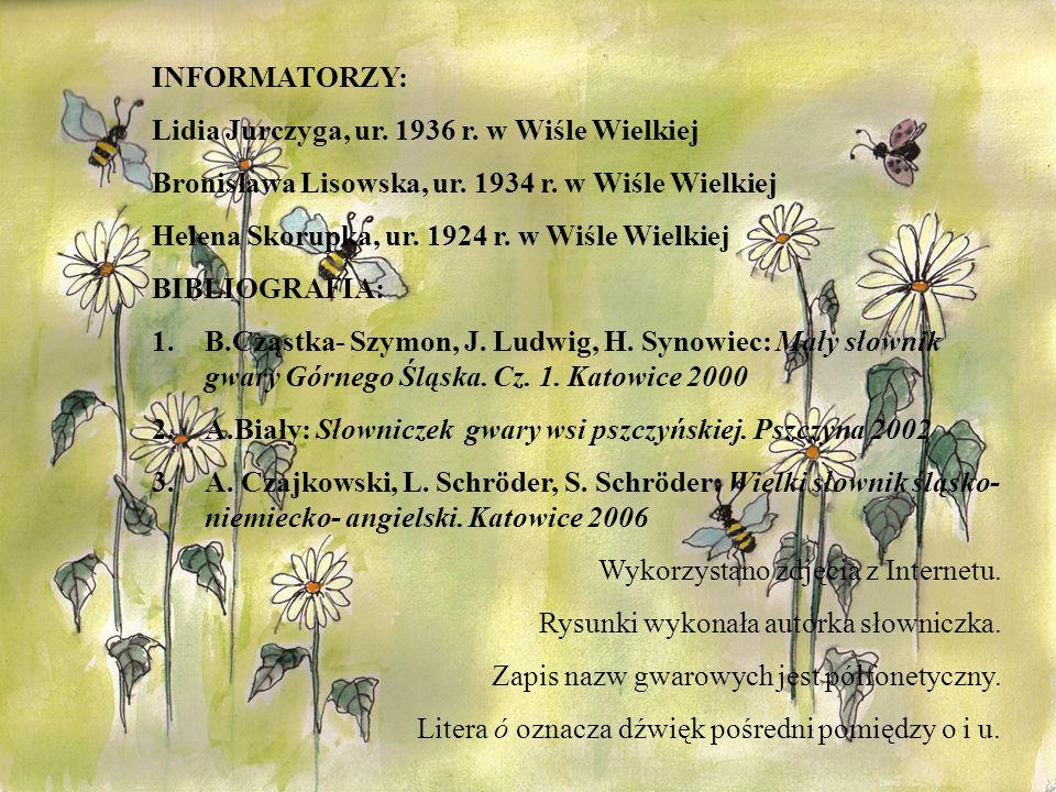 INFORMATORZY: Lidia Jurczyga, ur. 1936 r. w Wiśle Wielkiej Bronisława Lisowska, ur. 1934 r. w Wiśle Wielkiej Helena Skorupka, ur. 1924 r. w Wiśle Wiel