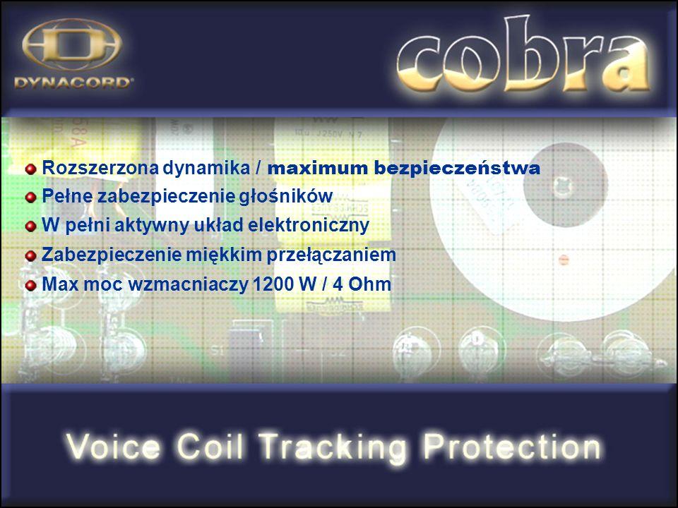 Rozszerzona dynamika / maximum bezpieczeństwa Pełne zabezpieczenie głośników W pełni aktywny układ elektroniczny Zabezpieczenie miękkim przełączaniem Max moc wzmacniaczy 1200 W / 4 Ohm