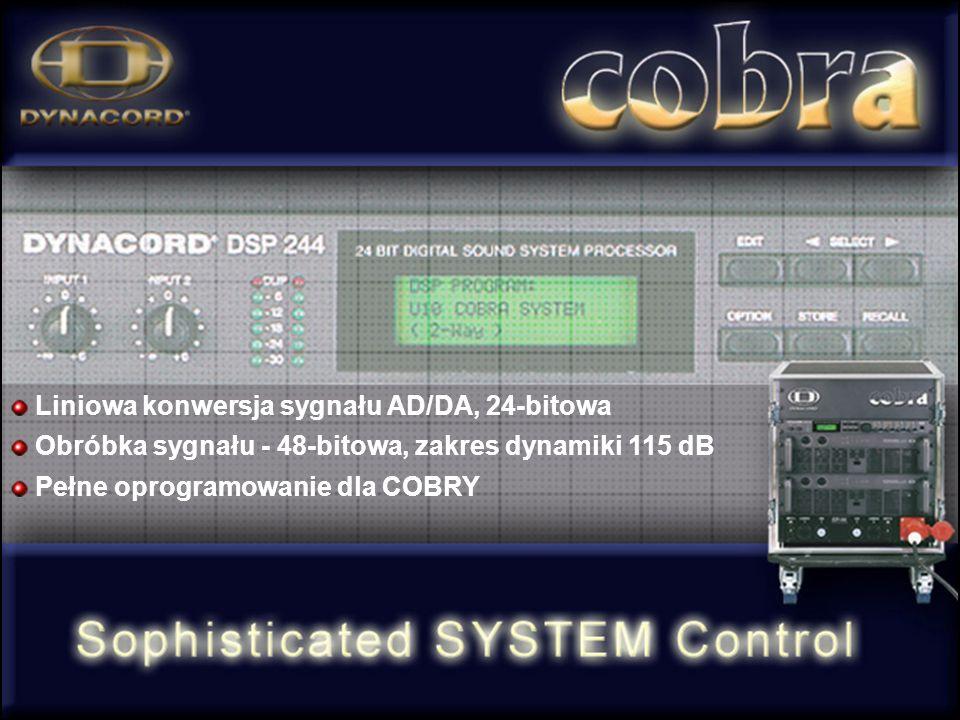 Liniowa konwersja sygnału AD/DA, 24-bitowa Obróbka sygnału - 48-bitowa, zakres dynamiki 115 dB Pełne oprogramowanie dla COBRY