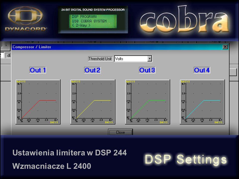 Ustawienia limitera w DSP 244 Wzmacniacze L 2400