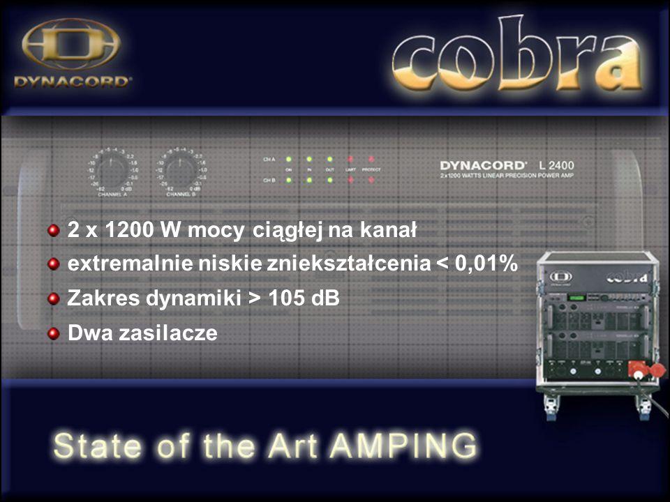 2 x 1200 W mocy ciągłej na kanał extremalnie niskie zniekształcenia < 0,01% Zakres dynamiki > 105 dB Dwa zasilacze