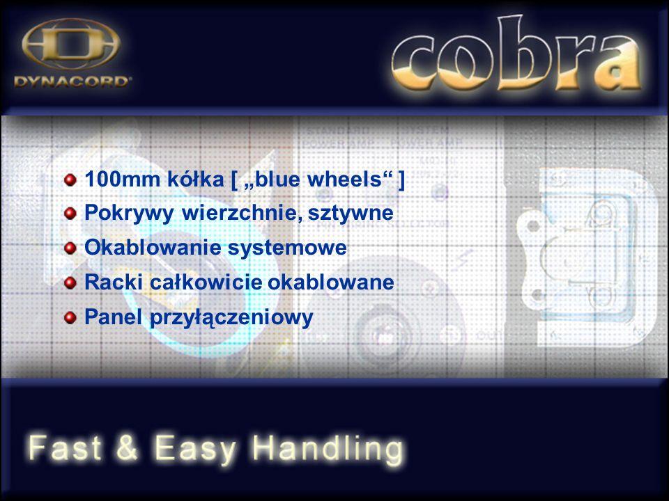 100mm kółka [ blue wheels ] Pokrywy wierzchnie, sztywne Okablowanie systemowe Racki całkowicie okablowane Panel przyłączeniowy