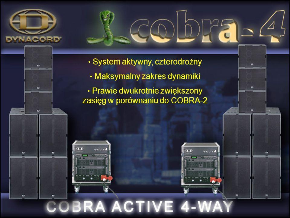 System aktywny, czterodrożny Maksymalny zakres dynamiki Prawie dwukrotnie zwiększony zasięg w porównaniu do COBRA-2