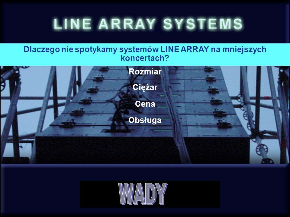Rozmiar Ciężar Cena Obsługa Dlaczego nie spotykamy systemów LINE ARRAY na mniejszych koncertach?