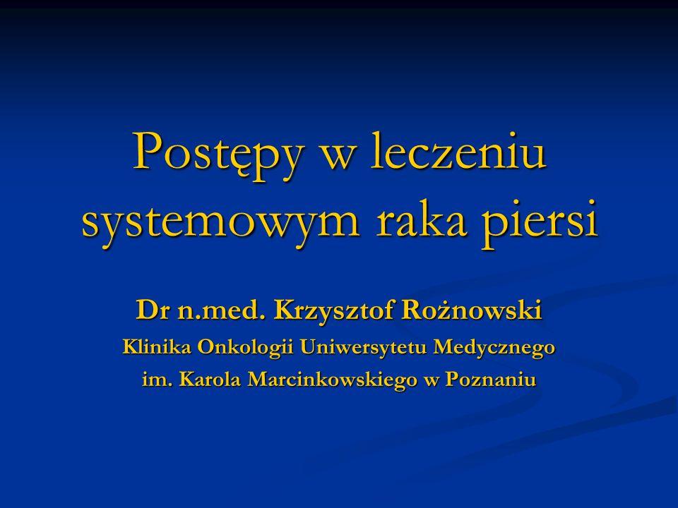 Postępy w leczeniu systemowym raka piersi Dr n.med. Krzysztof Rożnowski Klinika Onkologii Uniwersytetu Medycznego im. Karola Marcinkowskiego w Poznani