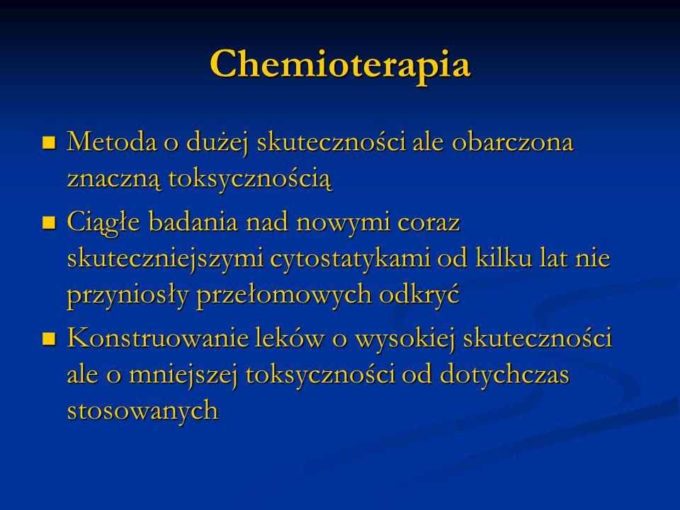 Chemioterapia Metoda o dużej skuteczności ale obarczona znaczną toksycznością Metoda o dużej skuteczności ale obarczona znaczną toksycznością Ciągłe b