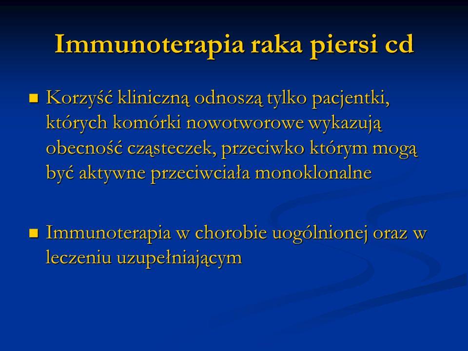 Immunoterapia raka piersi cd Korzyść kliniczną odnoszą tylko pacjentki, których komórki nowotworowe wykazują obecność cząsteczek, przeciwko którym mog