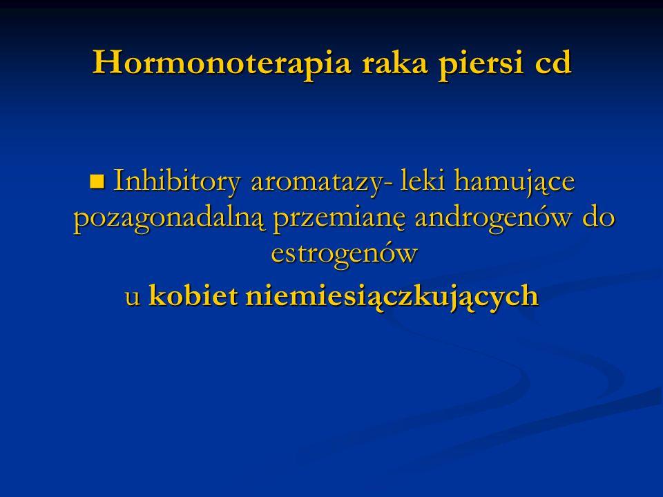 Hormonoterapia raka piersi cd Inhibitory aromatazy- leki hamujące pozagonadalną przemianę androgenów do estrogenów Inhibitory aromatazy- leki hamujące