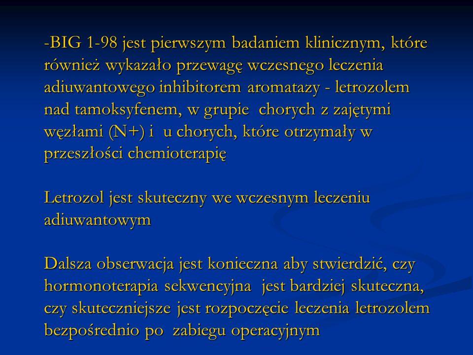 -BIG 1-98 jest pierwszym badaniem klinicznym, które również wykazało przewagę wczesnego leczenia adiuwantowego inhibitorem aromatazy - letrozolem nad
