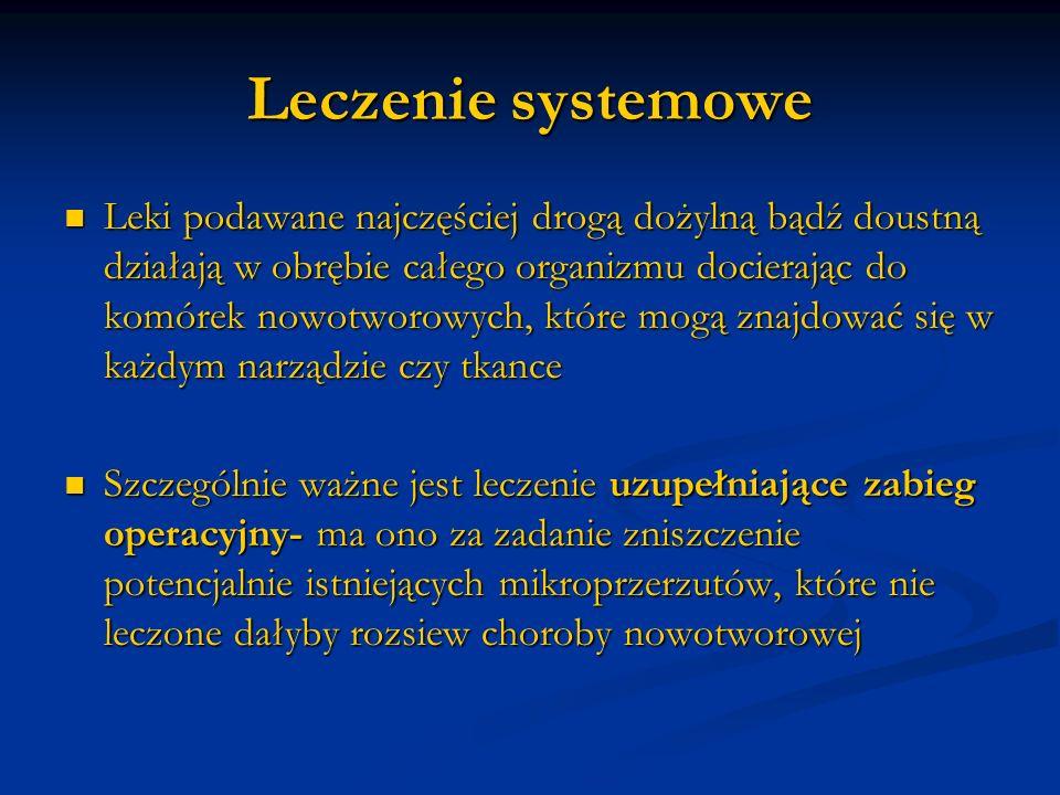 Leczenie systemowe Leki podawane najczęściej drogą dożylną bądź doustną działają w obrębie całego organizmu docierając do komórek nowotworowych, które