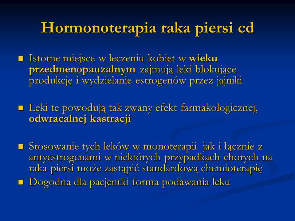 Hormonoterapia raka piersi cd Istotne miejsce w leczeniu kobiet w wieku przedmenopauzalnym zajmują leki blokujące produkcję i wydzielanie estrogenów p