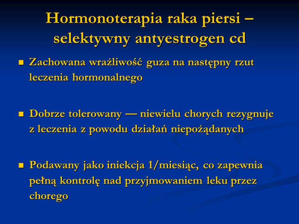 Hormonoterapia raka piersi – selektywny antyestrogen cd Zachowana wrażliwość guza na następny rzut leczenia hormonalnego Zachowana wrażliwość guza na