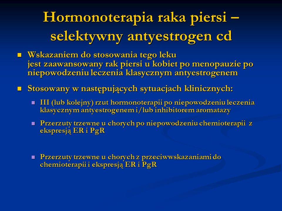 Hormonoterapia raka piersi – selektywny antyestrogen cd Wskazaniem do stosowania tego leku jest zaawansowany rak piersi u kobiet po menopauzie po niep
