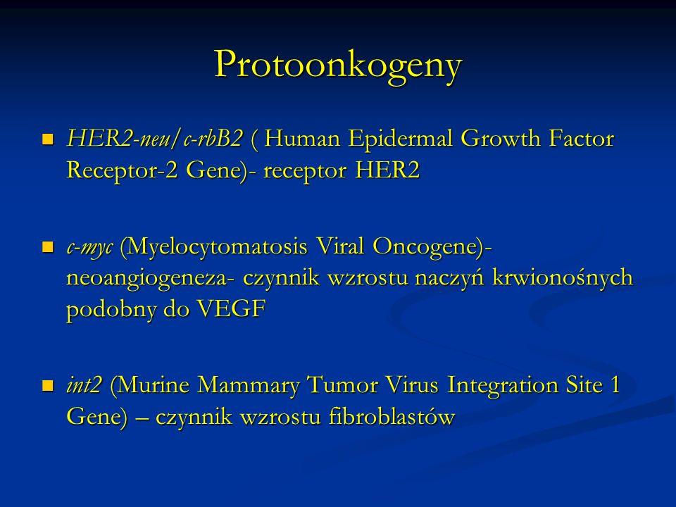 Geny supresorowe W warunkach prawidłowych regulują negatywnie cykl komórkowy i różnicowanie komórek W warunkach prawidłowych regulują negatywnie cykl komórkowy i różnicowanie komórek ( antyonkogeny, gatekeepers) ( antyonkogeny, gatekeepers) Charakter recesywny- kliniczne ujawnienie się mutacji w przypadku uszkodzenia obu alleli genu Charakter recesywny- kliniczne ujawnienie się mutacji w przypadku uszkodzenia obu alleli genu Często ich uszkodzenie leży u podłoża dziedzicznych zespołów predyspozycji do rozwoju nowotworów Często ich uszkodzenie leży u podłoża dziedzicznych zespołów predyspozycji do rozwoju nowotworów