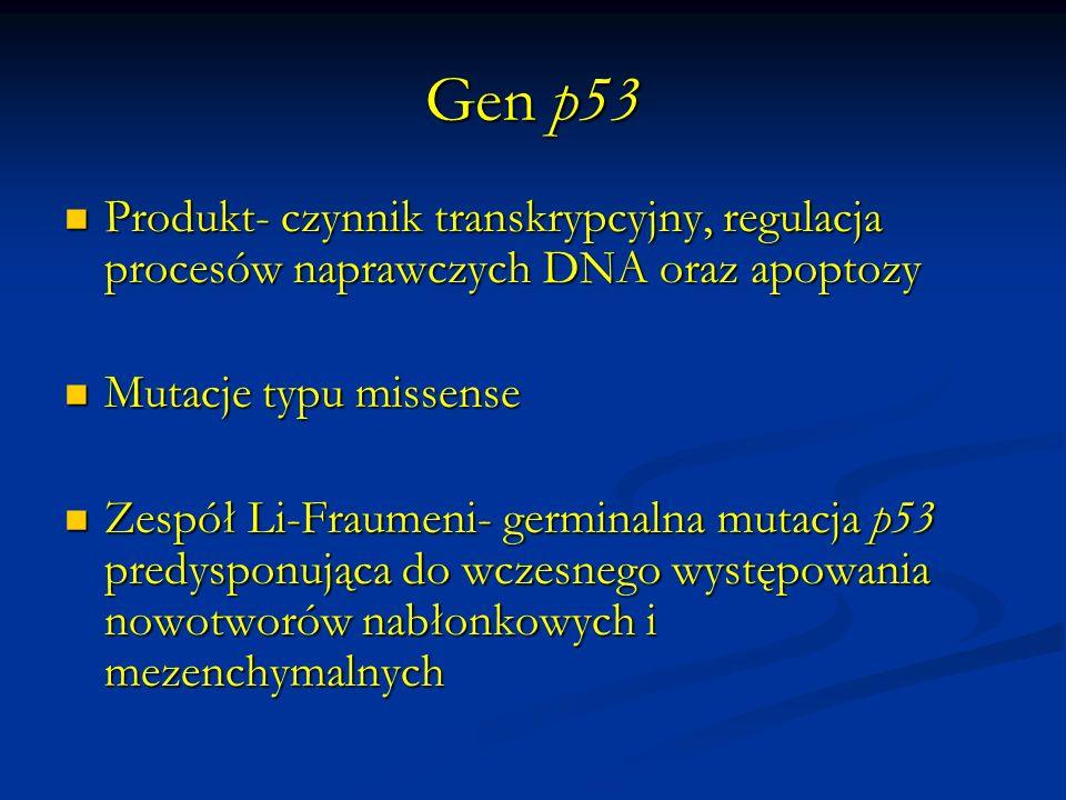 Geny mutatorowe Odpowiedzialne za utrzymanie integralności DNA Odpowiedzialne za utrzymanie integralności DNA Udział w procesach naprawczych uszkodzonego DNA Udział w procesach naprawczych uszkodzonego DNA Mutacje genów mutatorowych prowadzą do niestabilności genomu, warunkując zwiększoną predyspozycję do nowotworzenia Mutacje genów mutatorowych prowadzą do niestabilności genomu, warunkując zwiększoną predyspozycję do nowotworzenia Charakter recesywny mutacji Charakter recesywny mutacji Zespoły niestabilności chromosomalnej: Nijmegen, Bloom i ataxia-teleangiectasia.