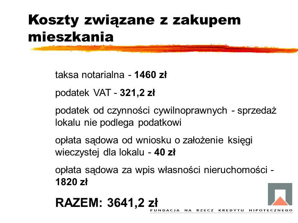 Koszty związane z zakupem mieszkania taksa notarialna - 1460 zł podatek VAT - 321,2 zł podatek od czynności cywilnoprawnych - sprzedaż lokalu nie podl