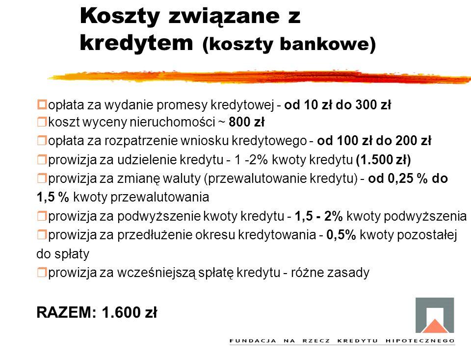 Koszty związane z kredytem (koszty bankowe) popłata za wydanie promesy kredytowej - od 10 zł do 300 zł rkoszt wyceny nieruchomości ~ 800 zł ropłata za rozpatrzenie wniosku kredytowego - od 100 zł do 200 zł rprowizja za udzielenie kredytu - 1 -2% kwoty kredytu (1.500 zł) rprowizja za zmianę waluty (przewalutowanie kredytu) - od 0,25 % do 1,5 % kwoty przewalutowania rprowizja za podwyższenie kwoty kredytu - 1,5 - 2% kwoty podwyższenia rprowizja za przedłużenie okresu kredytowania - 0,5% kwoty pozostałej do spłaty rprowizja za wcześniejszą spłatę kredytu - różne zasady RAZEM: 1.600 zł