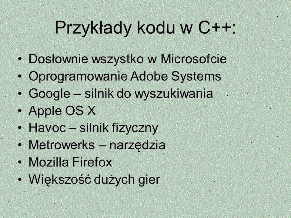 Przykłady kodu w C++: Dosłownie wszystko w Microsofcie Oprogramowanie Adobe Systems Google – silnik do wyszukiwania Apple OS X Havoc – silnik fizyczny