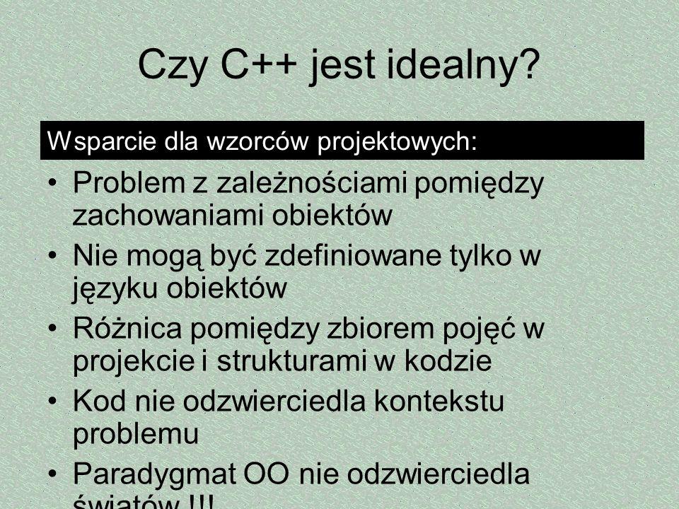 Czy C++ jest idealny? Problem z zależnościami pomiędzy zachowaniami obiektów Nie mogą być zdefiniowane tylko w języku obiektów Różnica pomiędzy zbiore