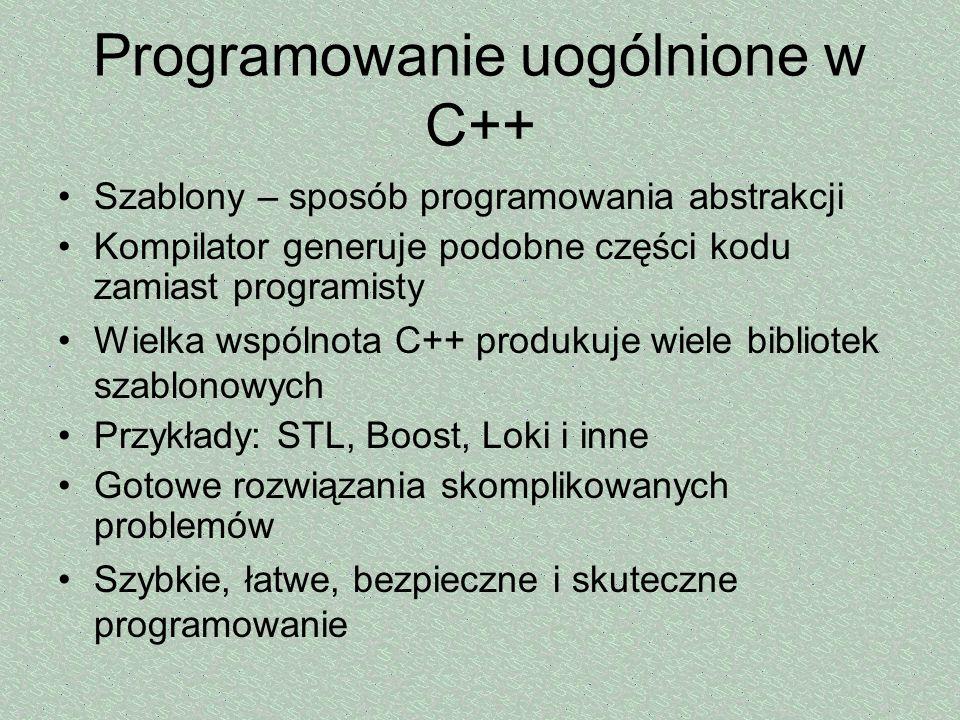 Programowanie uogólnione w C++ Szablony – sposób programowania abstrakcji Kompilator generuje podobne części kodu zamiast programisty Wielka wspólnota