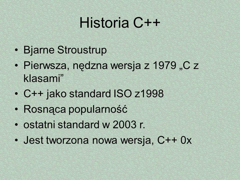 Historia C++ Bjarne Stroustrup Pierwsza, nędzna wersja z 1979 C z klasami C++ jako standard ISO z1998 Rosnąca popularność ostatni standard w 2003 r. J