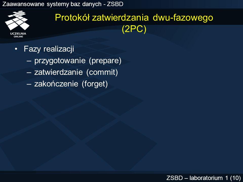 Zaawansowane systemy baz danych - ZSBD ZSBD – laboratorium 1 (11) 2PC - faza przygotowania (KG) 1.KG wybiera węzeł zatwierdzania 2.KG wysyła do uczestników żądanie przygotowania do zatwierdzania (uwaga: komunikat ten nie jest wysyłany do WZ) 3.Uczestnik przygotowuje się i wysyła komunikat PREPARED do KG 4.KG odbiera komunikaty od uczestników