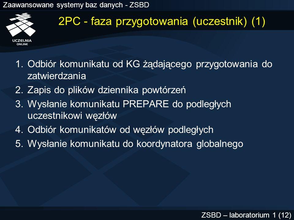 Zaawansowane systemy baz danych - ZSBD ZSBD – laboratorium 1 (13) 2PC - faza przygotowania (uczestnik) (2) W przypadku braku modyfikacji danych -> wysłanie do koordynatora globalnego komunikatu READ-ONLY Jeśli inne zdalne węzły podległe danemu węzłowi uczestnika zgłosiły gotowość i sam uczestnik jest gotów -> wysłanie komunikatu PREPARED do koordynatora globalnego –w przeciwnym przypadku wycofanie lokalnej transakcji wysłanie ABORT