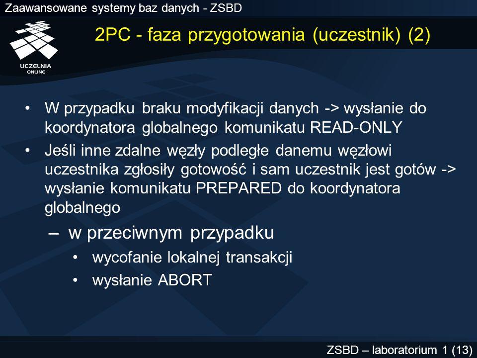 Zaawansowane systemy baz danych - ZSBD ZSBD – laboratorium 1 (14) 2PC - faza zatwierdzania (zatwierdzanie) 1.KG odbiera potwierdzenia od uczestników PREPARED READ-ONLY (brak modyfikacji) ABORT (niemożliwość przygotowania do zatwierdzania) 2.Jeśli wszyscy odpowiedzieli PREPARED -> KG wysyła żądanie zatwierdzenia transakcji do węzła zatwierdzania 3.WZ zatwierdza tranaskcję i wysyła komunikat do KG 4.KG wysyła żądanie zatwierdzenia do pozostałych węzłów