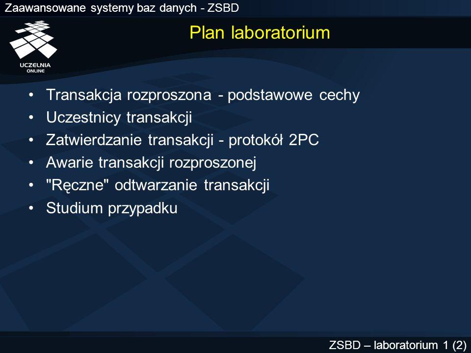 Zaawansowane systemy baz danych - ZSBD ZSBD – laboratorium 1 (3) Transakcja rozproszona (1) PO1.CIO1.POZ.PL WO2.CIO2.WAR.PL HQ.LON.UK update konta@PO1.CIO1.POZ.PL.....; update konta@WO2.CIO2.WAR.PL.....; update accounts@HQ.LON.UK.....; commit; Transakcja, której polecenia INSERT, UPDATE, DELETE, SELECT odwołują się do tabel znajdujących się co najmniej w dwóch węzłach rozproszonej bazy danych