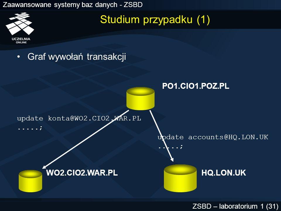 Zaawansowane systemy baz danych - ZSBD ZSBD – laboratorium 1 (32) WO2.CIO2.WAR.PL SELECT * FROM sys.dba_2pc_neighbors WHERE local_tran_id = 1.21.17; LOCAL_TRAN_ID 1.21.17 IN_OUT in DATABASE PO1.CIO1.POZ.PL DBUSER_OWNER SCOTT INTERFACE N DBID 000003F4 SESS# 1 BRANCH 0100 węzeł jest serwerem żądania bazy danych dołączenie zrealizowane z konta WO2.CIO2.WAR.PL nie jest węzłem zatwierdzania; żaden z węzłów podległych nie jest węzłem zatwierdzania ORA-01591: lock held by in-doubt distributed transaction 1.21.17 Studium przypadku (2)