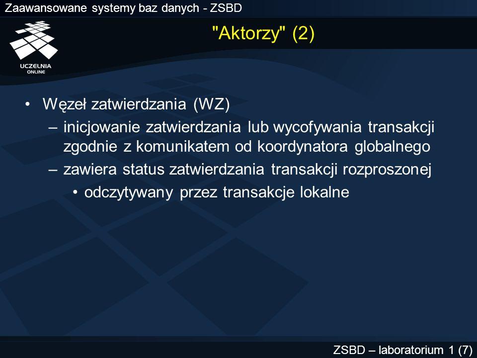 Zaawansowane systemy baz danych - ZSBD ZSBD – laboratorium 1 (7)