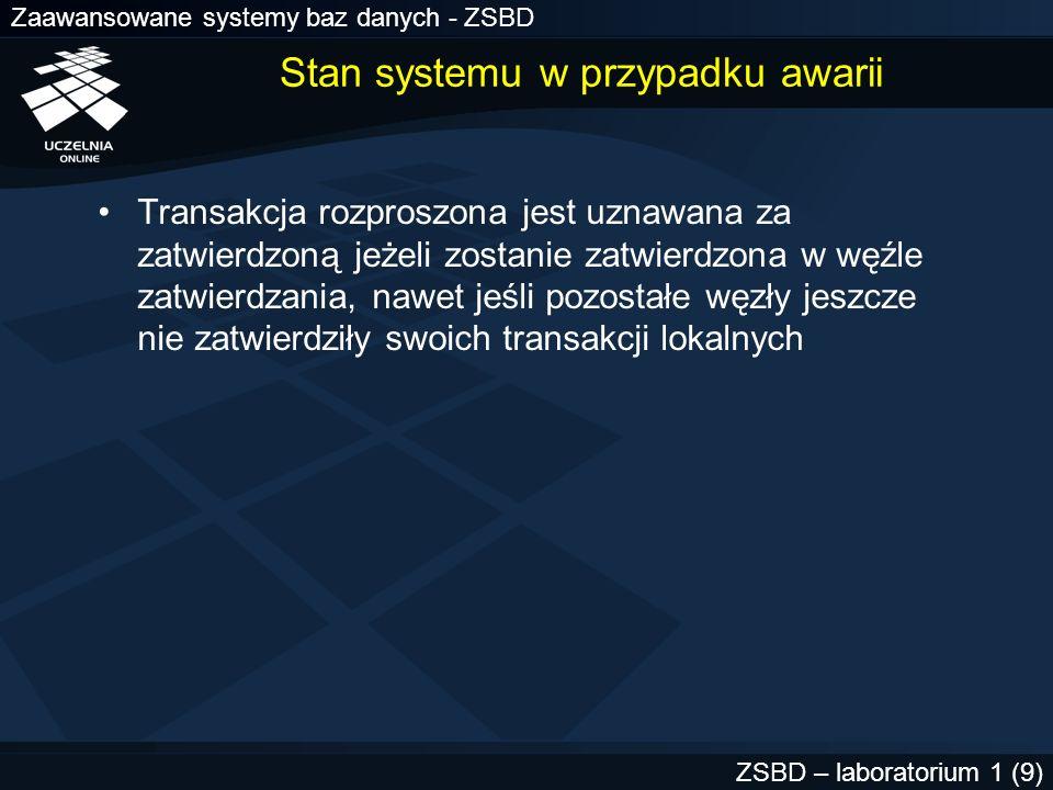 Zaawansowane systemy baz danych - ZSBD ZSBD – laboratorium 1 (9) Stan systemu w przypadku awarii Transakcja rozproszona jest uznawana za zatwierdzoną