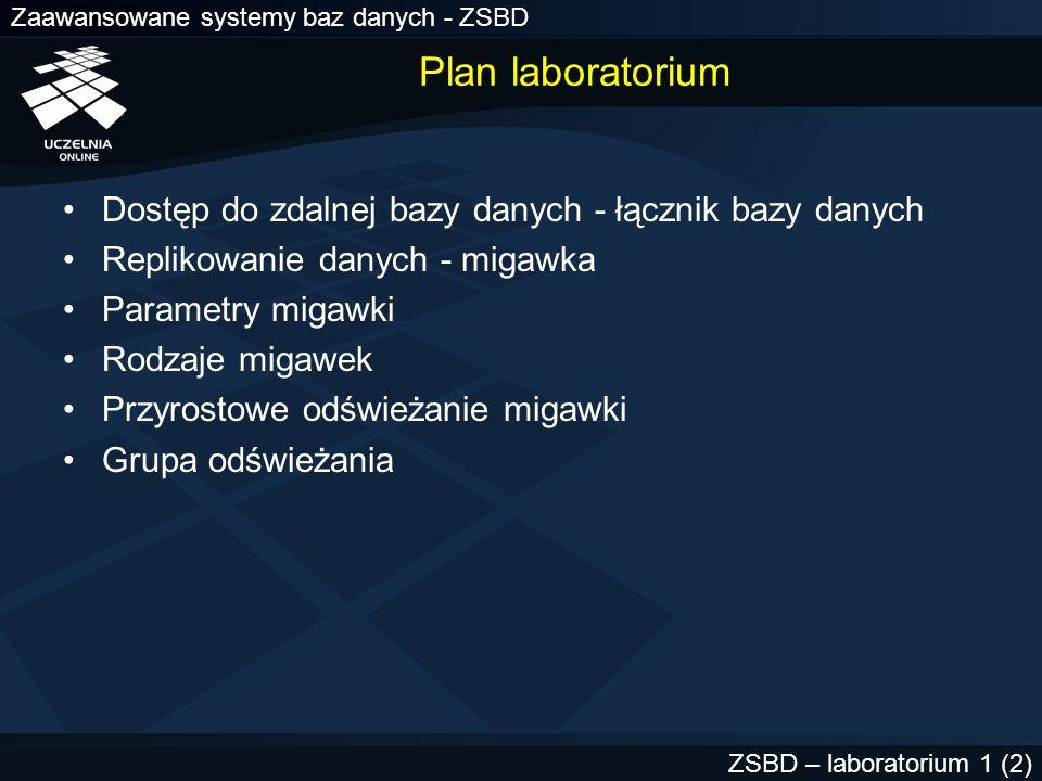 Zaawansowane systemy baz danych - ZSBD ZSBD – laboratorium 1 (2) Plan laboratorium Dostęp do zdalnej bazy danych - łącznik bazy danych Replikowanie da