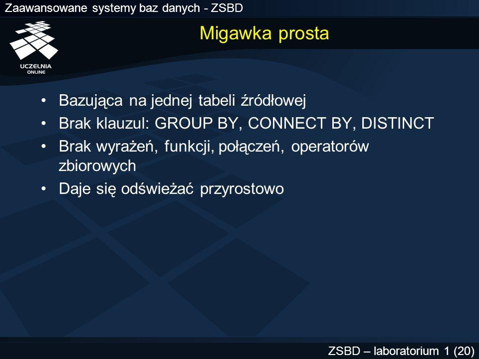 Zaawansowane systemy baz danych - ZSBD ZSBD – laboratorium 1 (20) Migawka prosta Bazująca na jednej tabeli źródłowej Brak klauzul: GROUP BY, CONNECT B