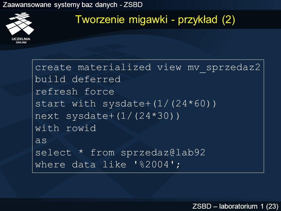 Zaawansowane systemy baz danych - ZSBD ZSBD – laboratorium 1 (23) Tworzenie migawki - przykład (2) create materialized view mv_sprzedaz2 build deferre