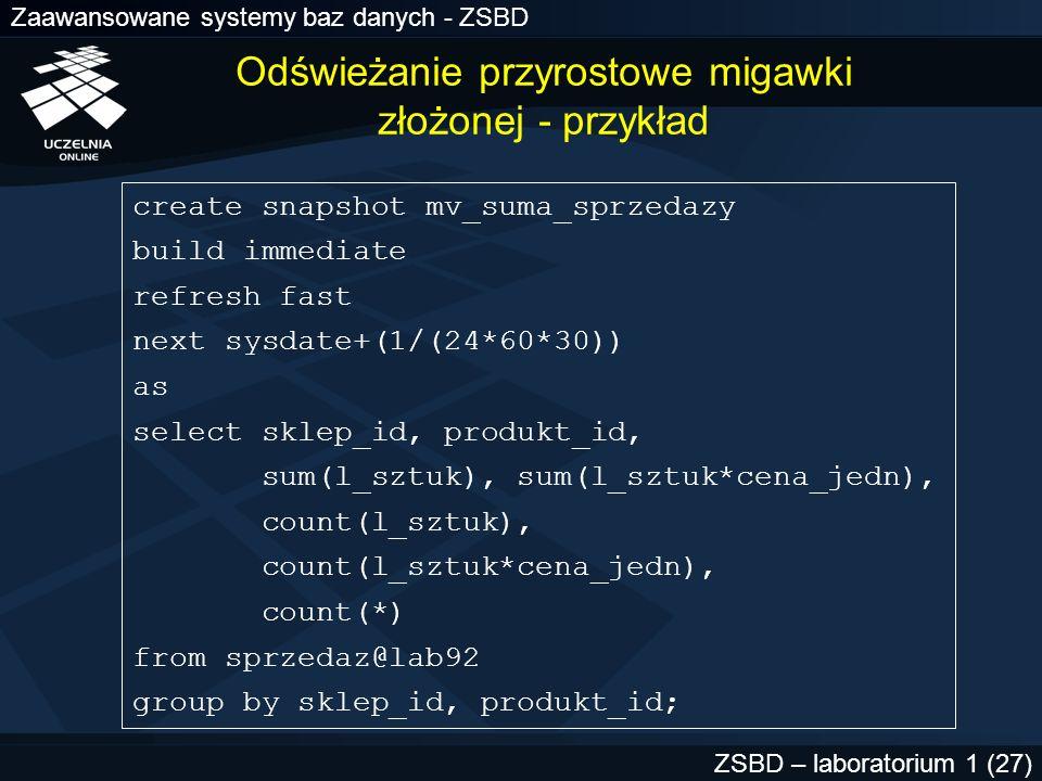 Zaawansowane systemy baz danych - ZSBD ZSBD – laboratorium 1 (27) Odświeżanie przyrostowe migawki złożonej - przykład create snapshot mv_suma_sprzedaz