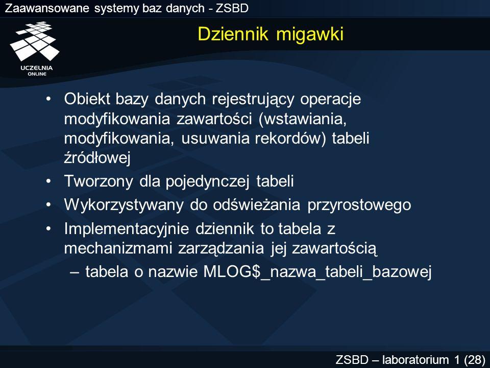 Zaawansowane systemy baz danych - ZSBD ZSBD – laboratorium 1 (28) Dziennik migawki Obiekt bazy danych rejestrujący operacje modyfikowania zawartości (