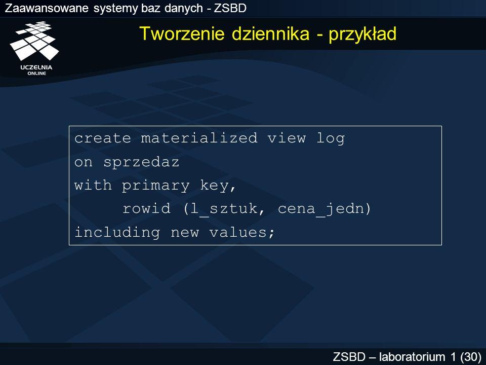 Zaawansowane systemy baz danych - ZSBD ZSBD – laboratorium 1 (30) create materialized view log on sprzedaz with primary key, rowid (l_sztuk, cena_jedn