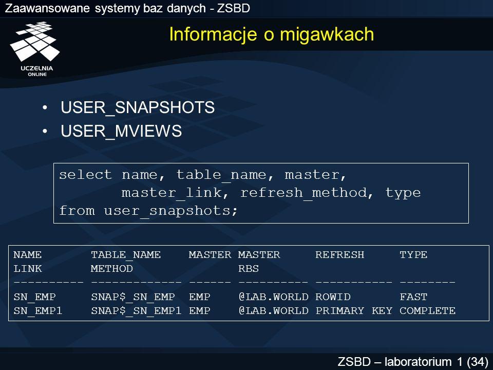 Zaawansowane systemy baz danych - ZSBD ZSBD – laboratorium 1 (34) Informacje o migawkach USER_SNAPSHOTS USER_MVIEWS select name, table_name, master, m