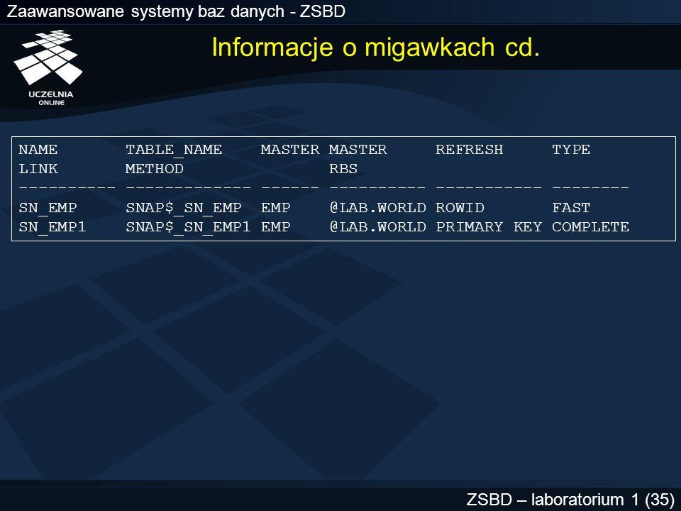 Zaawansowane systemy baz danych - ZSBD ZSBD – laboratorium 1 (35) Informacje o migawkach cd. NAME TABLE_NAME MASTER MASTER REFRESH TYPE LINK METHOD RB