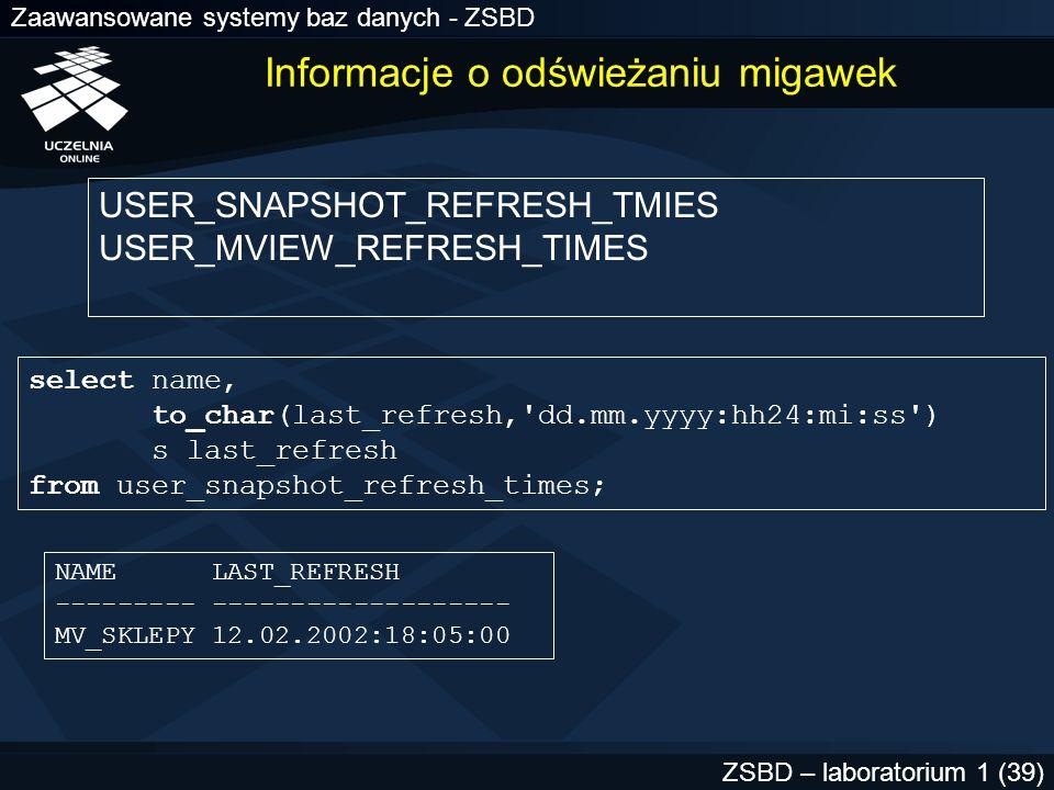 Zaawansowane systemy baz danych - ZSBD ZSBD – laboratorium 1 (39) USER_SNAPSHOT_REFRESH_TMIES USER_MVIEW_REFRESH_TIMES select name, to_char(last_refre