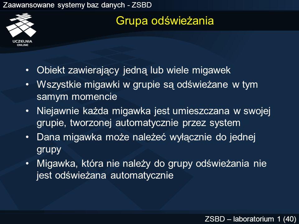 Zaawansowane systemy baz danych - ZSBD ZSBD – laboratorium 1 (40) Grupa odświeżania Obiekt zawierający jedną lub wiele migawek Wszystkie migawki w gru