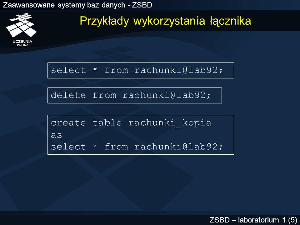 Zaawansowane systemy baz danych - ZSBD ZSBD – laboratorium 1 (56) Ćwiczenie 4 - perspektywy słownikowe 1.Korzystając perspektyw słownikowych wyświetlić informacje na temat: –utworzonych przez siebie łączników bazy danych –utworzonych przez siebie migawek i aktualnych czasów ich odświeżania –utworzonych przez siebie dzienników migawek –utworzonych przez siebie grup odświeżania i migawek w grupach
