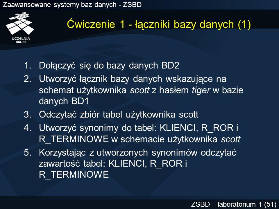 Zaawansowane systemy baz danych - ZSBD ZSBD – laboratorium 1 (51) Ćwiczenie 1 - łączniki bazy danych (1) 1.Dołączyć się do bazy danych BD2 2.Utworzyć